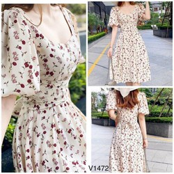 Đầm hoa tay phồng thời trang thiết kế cao cấp