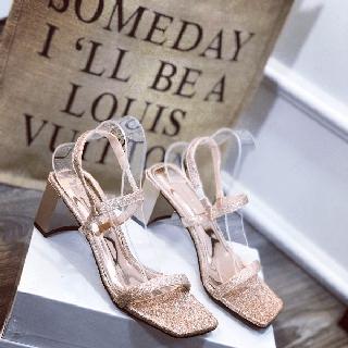Giày sandal nhũ gót vuông dây mảnh xinh xắn - db26892 thumbnail