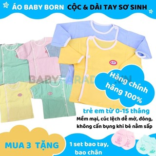 Áo Baby Born dài tay cúc lệch cho trẻ sơ sinh từ 2,8 - 6kg ( nhiều màu) - Áo Baby Born dài tay cúc lệch cho trẻ sơ sinh thumbnail
