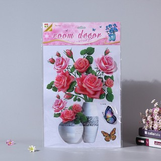 Combo 3 Tranh hoa nổi 3D trang trí dán tường, dán kính, dán cửa - 3 tranh hoa thumbnail