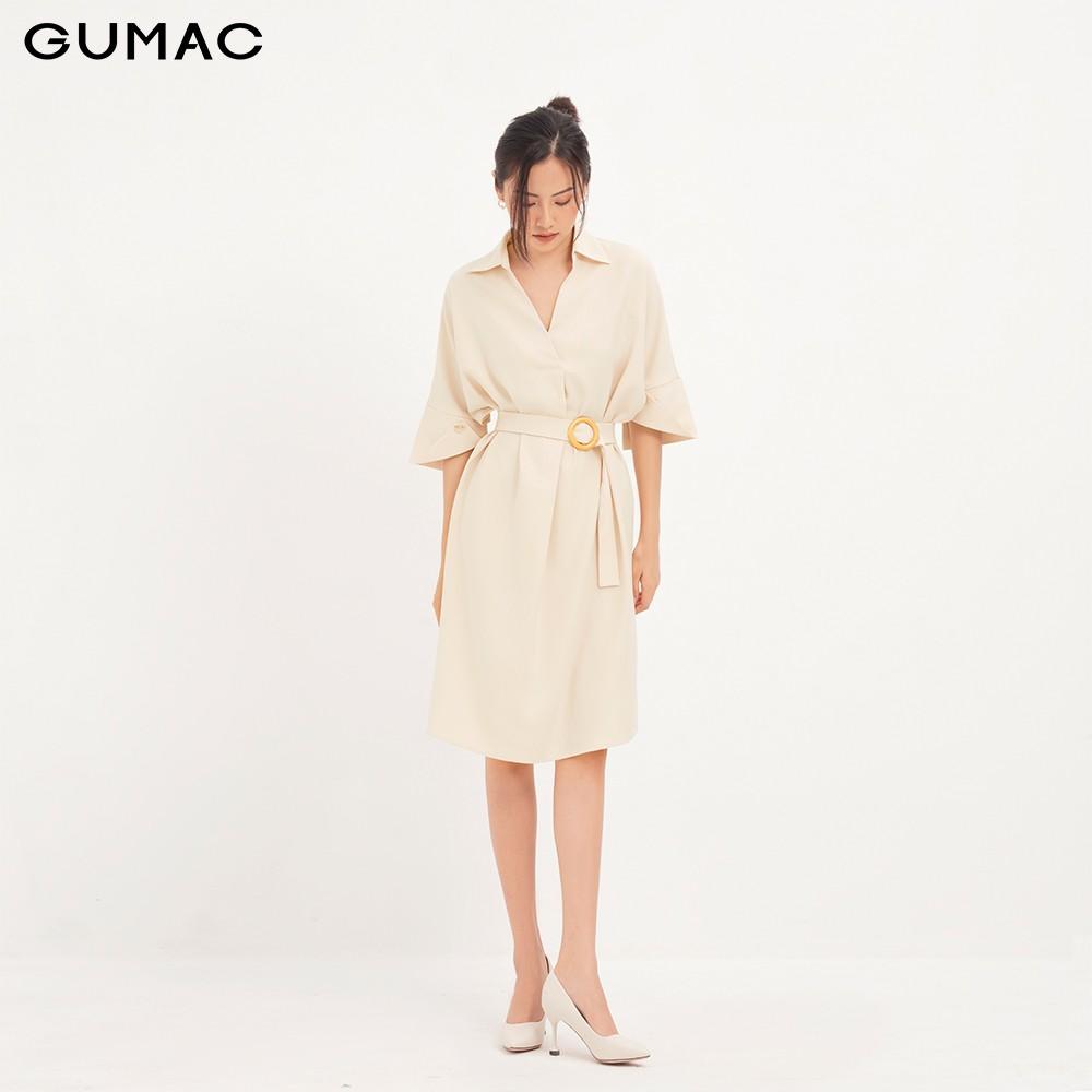 Đầm tay kiểu phối đai GUMAC DA12120