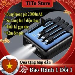 Sạc dự phòng thông minh,4 dây sạc 2 cổng USB dung lượng 20.000mha,pin sạc dự phòng dùng cho máy samsung,xiaomi,iphone,hoco.remax