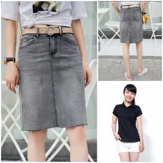 Sét Váy Jean Vải Co Giãn Hàng Công Ty Cao Cấp Nhiều Mẫu - váy jean khuy thumbnail
