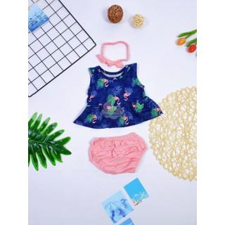 Bộ váy babydoll turban, nhiều màu, bé gái 4-11kg - Bộ váy babydoll turban, nhiều màu thumbnail