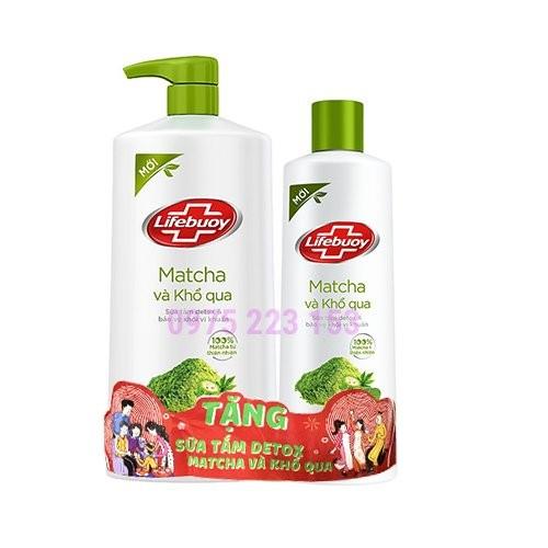 Sữa tắm Detox Lifebuoy Matcha và Khổ Qua 850g - tặng sữa tắm lifebuoy matcha khổ qua nhỏ