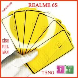 Kính cường lực REALME 6S full màn hình , Ảnh thực shop tự chụp , shop có  tặng kèm mỗi kính 1 bộ giấy lau kính taiyo9shop