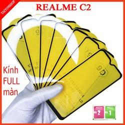 Kính cường lực REALME C2 full màn hình , Ảnh thực shop tự chụp , shop có  tặng kèm mỗi kính 1 bộ giấy lau kính taiyo9shop