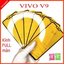 Kính cường lực VIVO V9 FULL màn hình , Ảnh thực shop tự chụp , shop có  tặng kèm mỗi kính 1 bộ giấy lau kính taiyo9shop