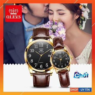 Đồng hồ cặp đôi OLEVS cho nam và nữ, mặt số thạch anh, chống nước tốt, kim phát quang ban đêm , dây da nâu chính hãng - BH 12 THÁNG - DH ĐÔI OLEVS thumbnail