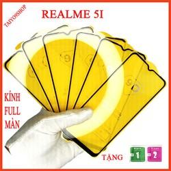 Kính cường lực REALME 5I full màn hình , Ảnh thực shop tự chụp , shop có  tặng kèm mỗi kính 1 bộ giấy lau kính taiyo9shop