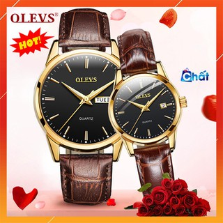 Đồng hồ đôi nam nữ chính hãng OLEVS, dây da bò cực mềm, fulbox chính hãng, mặt kính chống chầy xước,va đập và chống nước tốt, món quà ý nghĩa dành cho các cặp đôi - BH 12 THÁNG - ĐH ĐÔI OLEVS thumbnail