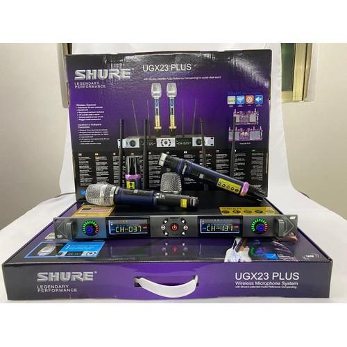 ( TẶNG CHỐNG LĂN ) Bộ micro karaoke không dây Shure-Ugx23 plus loại 1 cao cấp, giảm hú rít, tiếng ca nhẹ nhàng trong trẻo, sóng UHF 4 anten bắt…