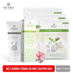 Bộ sản phẩm trắng da mặt M03 gồm 1 sữa rửa mặt nha đam 60ml + 3 miếng mặt nạ giấy tế bào gốc Truesky