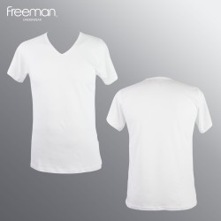 Áo lót nam Freeman - Cổ tim tay ngắn, chất liệu cotton thoáng mát TSF315