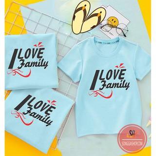 Áo gia đình I LOVE FAMILY - ĐỦ SIZE - màu thiên thanh GD306TT - 6424146631 thumbnail
