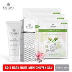 Bộ sản phẩm ngừa mụn trắng da mặt Truesky M04 gồm 1 sữa rửa mặt than hoạt tính 60ml + 3 miếng mặt nạ giấy tế bào gốc Truesky