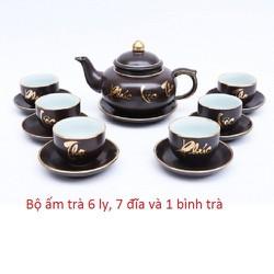 Bộ bình trà Phúc Lộc Thọ Freeship ấm trà in chữ, Bộ ấm chén có 01 ấm, 06 chén, 07 đĩa tráng men cao cấp