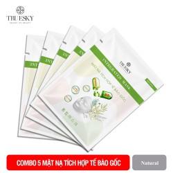 (Combo 5 miếng) Mặt nạ giấy tích hợp tế bào gốc Truesky giúp làm sáng da, dưỡng ẩm và ngăn ngừa lão hoá - Integrated Steam Cell Mask