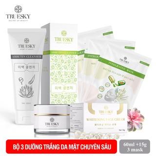 Bộ sản phẩm ngăn ngừa nám da mặt Truesky V05 gồm 1 kem ngăn ngừa nám da 8g và một sữa rửa mặt nha đam 60ml + 3 miếng mặt nạ tế bào gốc Truesky - face + arbutin + mask (3miếng) thumbnail