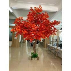 Siêu Rẻ_Cành lá phong xanh đỏ (big size) làm cây giả trang trí