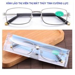 Kính viễn thị kính đọc sách MẮT THỦY TINH gọng hợp kim mắt cực trong và sáng sẵn độ hàng tốt loại 1 có hộp và khăn