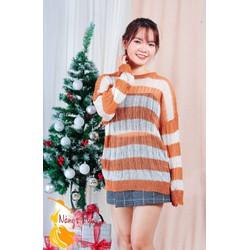 Áo len lưới mỏng sọc cam
