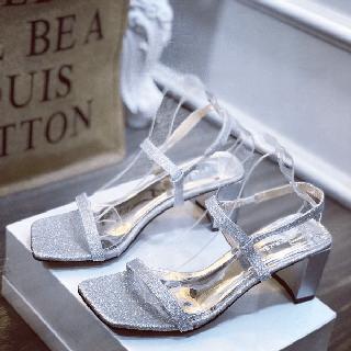 Giày sandal nhũ gót vuông dây mảnh xinh xắn - sh5671 thumbnail