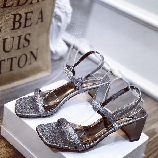 Giày sandal nhũ gót vuông dây mảnh xinh xắn - sb2688w thumbnail