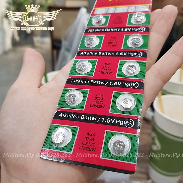 [Sale 1k] Pin đồng hồ đeo tay 1K Alkaline Battery loại nhỏ 1.5V AG4 377A CX177 LR626W giá chỉ 1k - pin 3