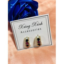 Khuyên tai khoen tròn màu vàng đính ngọc nhiều màu lấp lóe, thiết kế độc đáo, cá tính thích hợp cho chị em đi tiệc sang trọng, Thu hút mọi ánh nhìn & – Giá Siêu Rẻ & – [Xúng Xính Accessories]