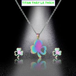 Bộ trang sức cỏ 3 lá nữ titan may mắn sắc màu xinh lung linh - Hàng titan màu sắc bóng bền đẹp - Cam kết 1 đổi 1 nếu đen và gỉ sét