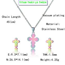Bộ trang sức nữ mặt thánh giá titan chất – Hàng titan vàng 18k sáng bóng đẹp – Cam kết 1 đổi 1 nếu đen và gỉ sét