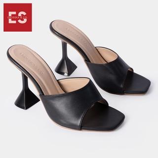 Dép cao gót thời trang Erosska mũi vuông đế nhọn hình nón kiểu dáng đơn giản cao 9cm màu đen _ EM061 - EM061BA thumbnail