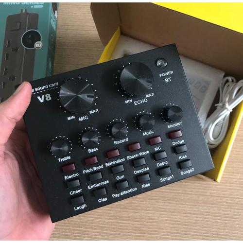 Soundcard âm thanh v8 autotune có bluetooth chuyên hát livestream hai phiên bản