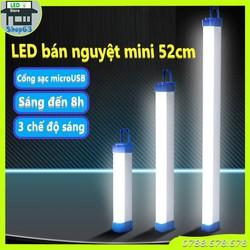 Đèn bán nguyệt vuông mini - tuýp sạc tích điện cao cấp pin sáng trên 8 giờ (3 chế độ sáng - thích hợp làm đèn bàn đèn ngủ - tích hợp nam châm và móc treo)