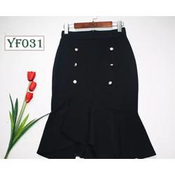 Chân váy đuôi cá đính nút thời trang công sở