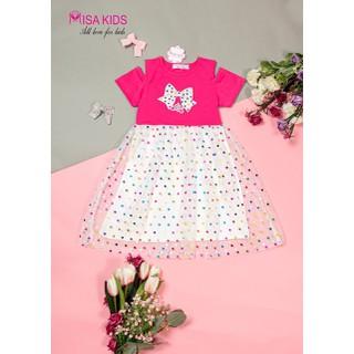 Đầm bé gái thun rớt vai chấm bi đầm dự tiệc Đầm công chúa cho bé gái Đầm elsa cho bé gái size 3-10