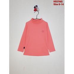 DG69-AT-05 - Aó bé gái, cotton, dài tay, cổ 3 phân, thêu tim, cam nhạt, hiệu H&T kids, size nhỡ 8-14, made in Việt Nam
