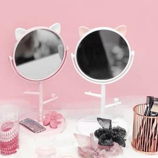 Gương Trang Điểm Để Bàn Siêu Cute, Gương Trang Điểm Tai Mèo Tròn Xoay 360 độ Siêu Tiện Lợi - US0082XR thumbnail