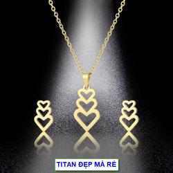 Bộ trang sức màu vàng 18k titan nữ mặt tim nhiều hình – Hàng titan vàng 18k sáng bóng đẹp – Cam kết 1 đổi 1 nếu đen và gỉ sét