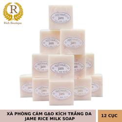 Combo 12 Cục Xà Phòng Kích Trắng Da Cám Gạo Jam Rice Milk Soap Thái Lan
