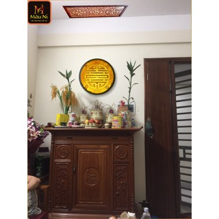 Tranh trúc chỉ in MÂU NI, đường kính 60cm, Chữ Thọ (thích hợp đặt tượng thờ cao 30cm đến 80cm), đèn thờ, tượng phật - tranhtrucchiin207 thumbnail