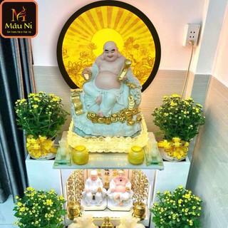 Tranh trúc chỉ in MÂU NI, đường kính 50cm, Sen hội tụ tỏa (thích hợp đặt tượng thờ cao 30cm đến 60cm), đèn thờ, tượng phật - tranhtrucchiin201 thumbnail