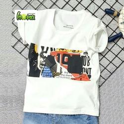 Áo thun trắng tay ngắn in hình cá tính cho bé trai từ 2-12 tuổi (14-40kg)