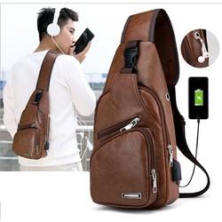 Túi đeo chéo da USB nhiều ngăn trẻ trung năng động