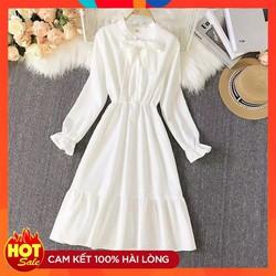 Váy Nữ Dáng Dài Thắt Nơ Cho Tay Bồng Dáng Suông