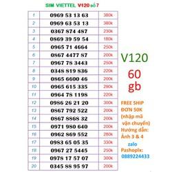 Sim viettel V120 số đẹp 7 ( 60gb data 4g, gọi viettel dưới 20′ free, 50′ ngoại mạng)