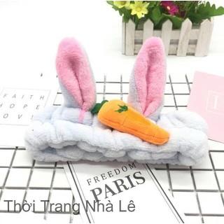 Băng đô rửa mặt, băng đô cài tóc tai thỏ đính carot siêu dễ thương( màu ngẩu nhiên)-LN021 - 1 Băng đô thumbnail