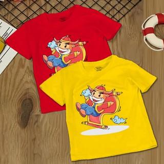 Combo 2 áo thun bé trai, bé gái 6kg - 28kg vải cotton cao cấp, thấm hút tốt họa tiết hoạt hình trâu dễ thương - BO2_AOTET_C thumbnail