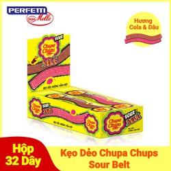 Kẹo Dẻo Chupa Chups Sour Belt Hương Cola & Dâu (Hộp 32 Dây)